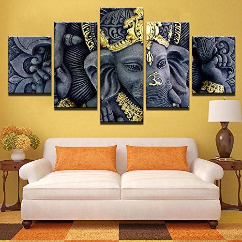 PEACOCK JEWELS [Small] Premium Quality Canvas Printed Wall Art Poster 5 Pieces / 5 Pannel Wall Decor Ganesh Statue Blessing Hang Painting, Home Decor Pictures - Stretched