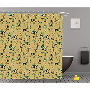 iPrint Shower Curtains 2.0,Egyptian Hieroglyphs Seamless Pattern African Ethnic Colorful Background Tribal D Wallpaper,Waterproof Bathroom Shower Curtain Set with Hooks,Updated version,Durable