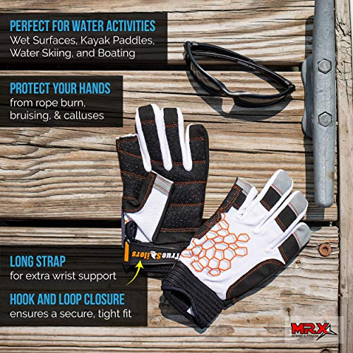 MRX BOXING & FITNESS Sailing Gloves Sticky Palm Gripy Glove Yachting Kayak Dinghy Fishing 2 Cut Finger (White 2-XL) by MRX BOXING & FITNESS (Image #4)