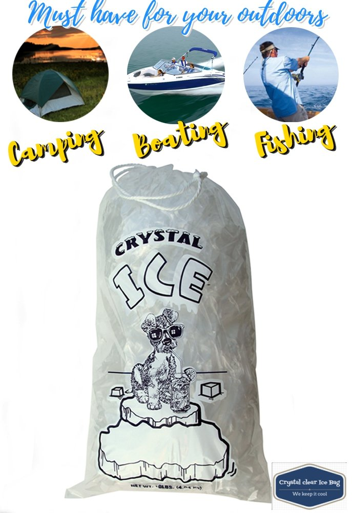 Crystal Clear Plastic Ice Bags with Cotton Draw String, 10 lb, Pack of 100 by CrystalClear (Image #4)