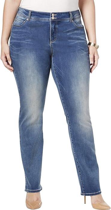 5ab0ce440244 Amazon.com  INC Womens Denim Medium Wash Straight Leg Jeans Blue 24W   Clothing