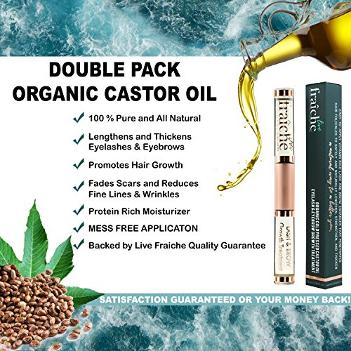 (2 PACK) Best Organic Eyelash Eyebrow Hair Growth Conditioning Treatment Castor Oil Cold Pressed - 100% Pure Certified Hexane Free with Mascara Tube Eyeliner Brush Applicator to condition lash & brow