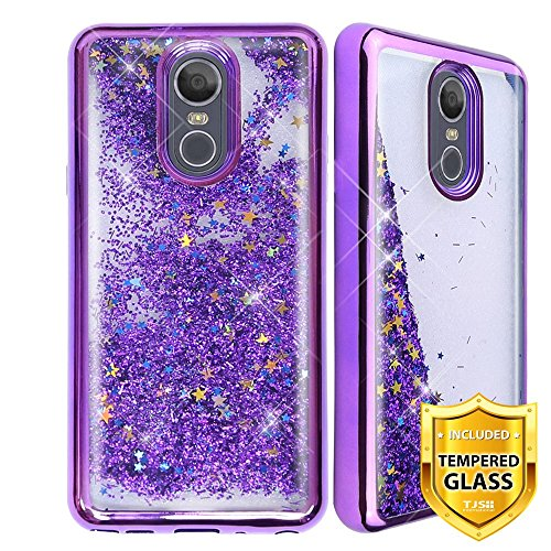 TJS LG Stylo 4 2018/LG Stylo 4 Plus/LG Q Stylus/LG Q Stylus Plus/LG Q Stylus Alpha Phone Case, [Full Coverage Tempered Glass Screen Protector] Glitter Liquid Chrome Bump Shockproof Motion (Purple)