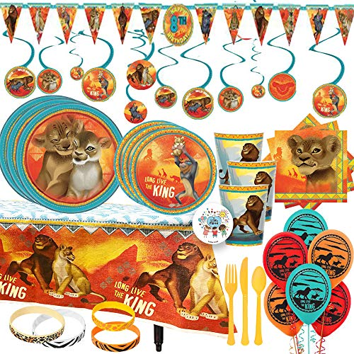 MEGA Lion King Birthday Party Supplies and Decorations Pack For 16 With Dinner and Dessert Plates, Napkins, Cups, Paper Tablecover, Banner, Swirls, Balloons, Safari Bracelets for Favors, and - Birthday Party Lion
