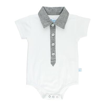 RuggedButts Infant/Toddler Boys Gray Chambray Detail Bodysuit