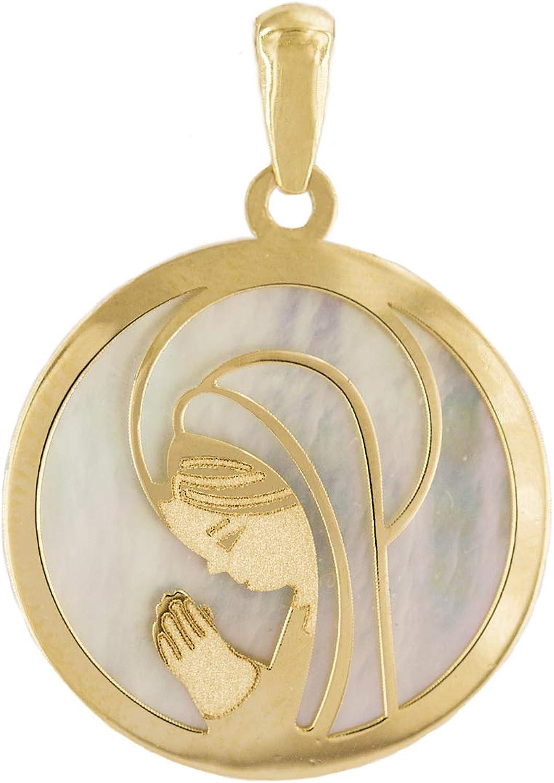 PRIORITY Colgante Virgen niña de Oro 18K y nácar Colgante Virgen Niña Oro, Colgante Primera Comunión de Niña, Colgante Comunión Niña, Colgante Primera Comunión Oro Niña, Colgante Oro Virgen Niña