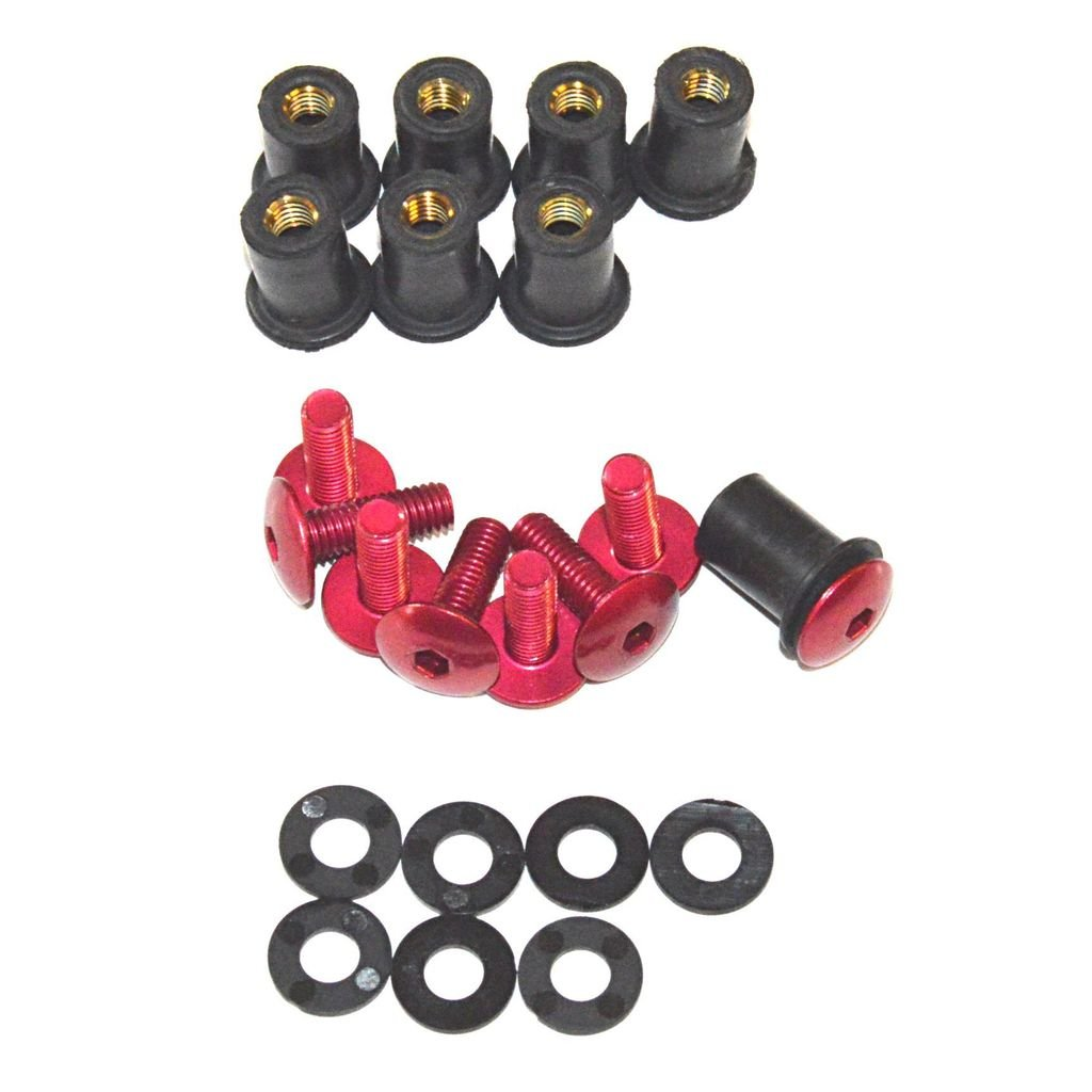 Windscreen Replacement Kit Replaces Windshields on Honda Kawasaki Suzuki Yamaha Ducati Triumph Low Profile Universal Red Dome Bolt WellNut Kit 8 Bolt Set