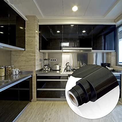 Yenhome 24 X 393 Glossy Black Self Adhesive Vinyl Contact Paper For Cabinets Covering Kitchen Drawer And Shelf Liner For Wardrobe Furniture Wall