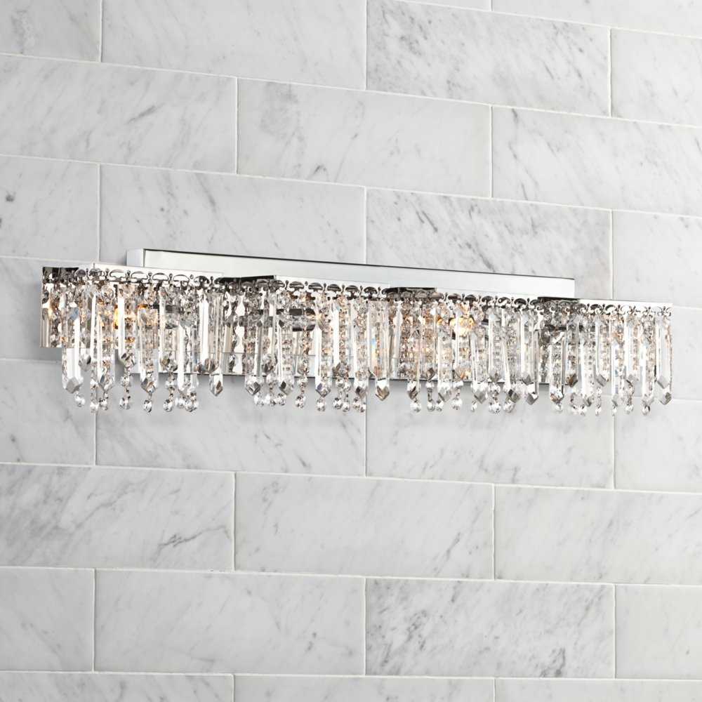 Possini euro design hanging crystal 33 34 wide bath light vanity possini euro design hanging crystal 33 34 wide bath light vanity lighting fixtures amazon mozeypictures Images