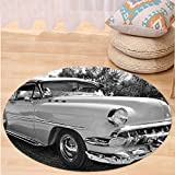 VROSELV Custom carpetVintage 50s 60s Retro Classic Pin Up Style Cars in Hollywood Movies Image Artwork for Bedroom Living Room Dorm Black White and Gray Round 79 inches
