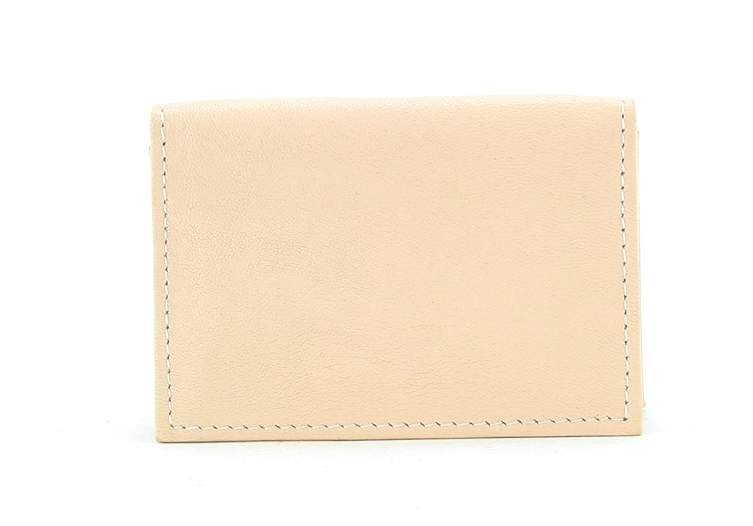 Small Travel Leather Gusseted Card Case Holder With Expandable Business Card Pocket