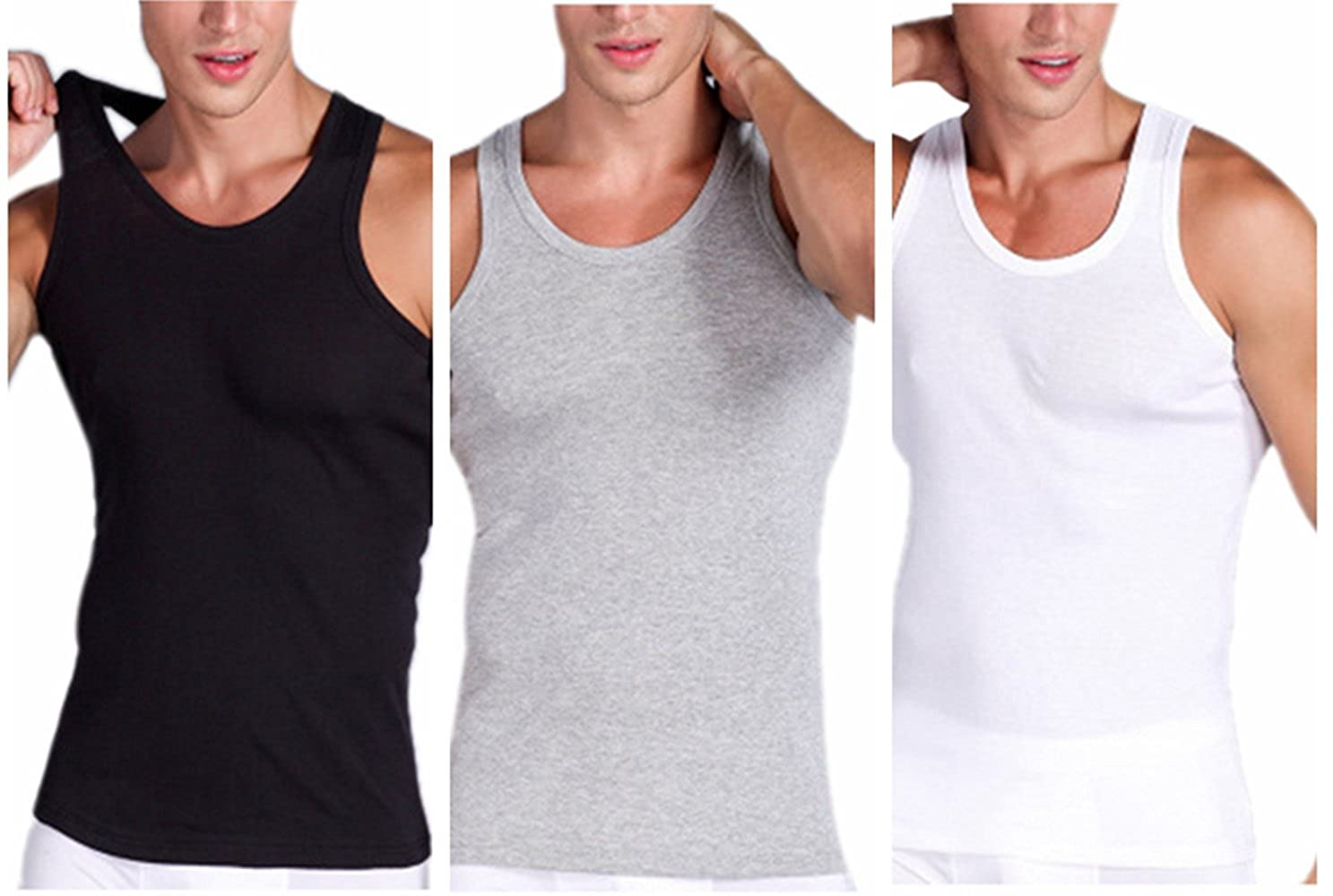 Discovery Men's Premium Cotton Super Value A-Shirt Multipack Undershirts Athletic Tank Tops Sleeveless