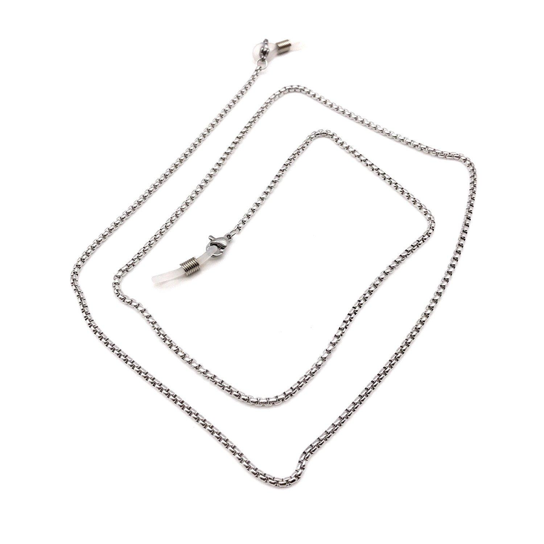 Stainless steel Eyeglass Chain Sunglasses Holder Strap Eyewear Lanyard (Silver)