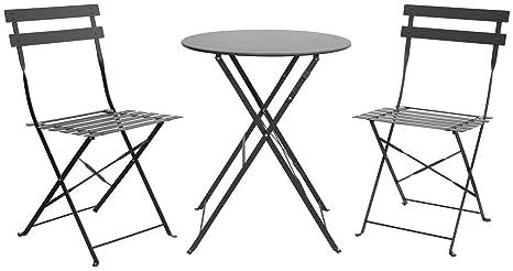 Juego 3 unidades mesa plegable + 2 sillas plegables de metal ...
