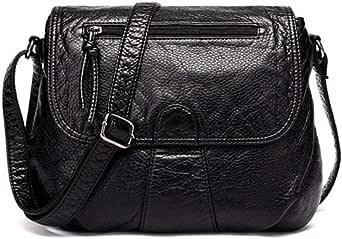 Black Small Women Messenger Bag Soft Washed PU Leather Crossbody Bag Female Handbag Purses Chain