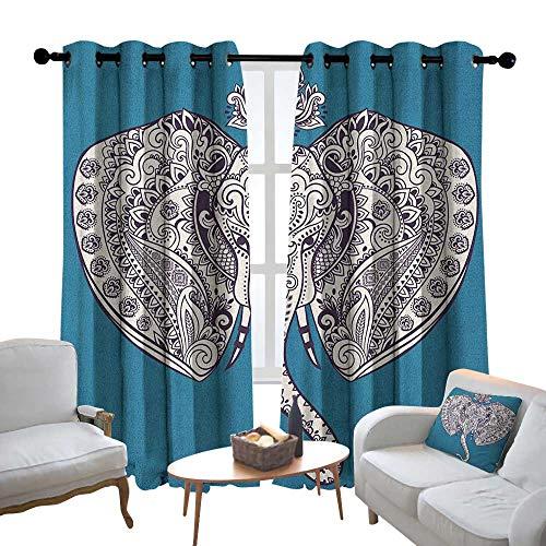 - Lewis Coleridge Kitchen Curtains Elephant Mandala,Tribal Ethnic Floral Detailed Sacred Prosperity Art Print, Black White and Dark Blue,Rod Pocket Drapes Thermal Insulated Panels Home décor 54