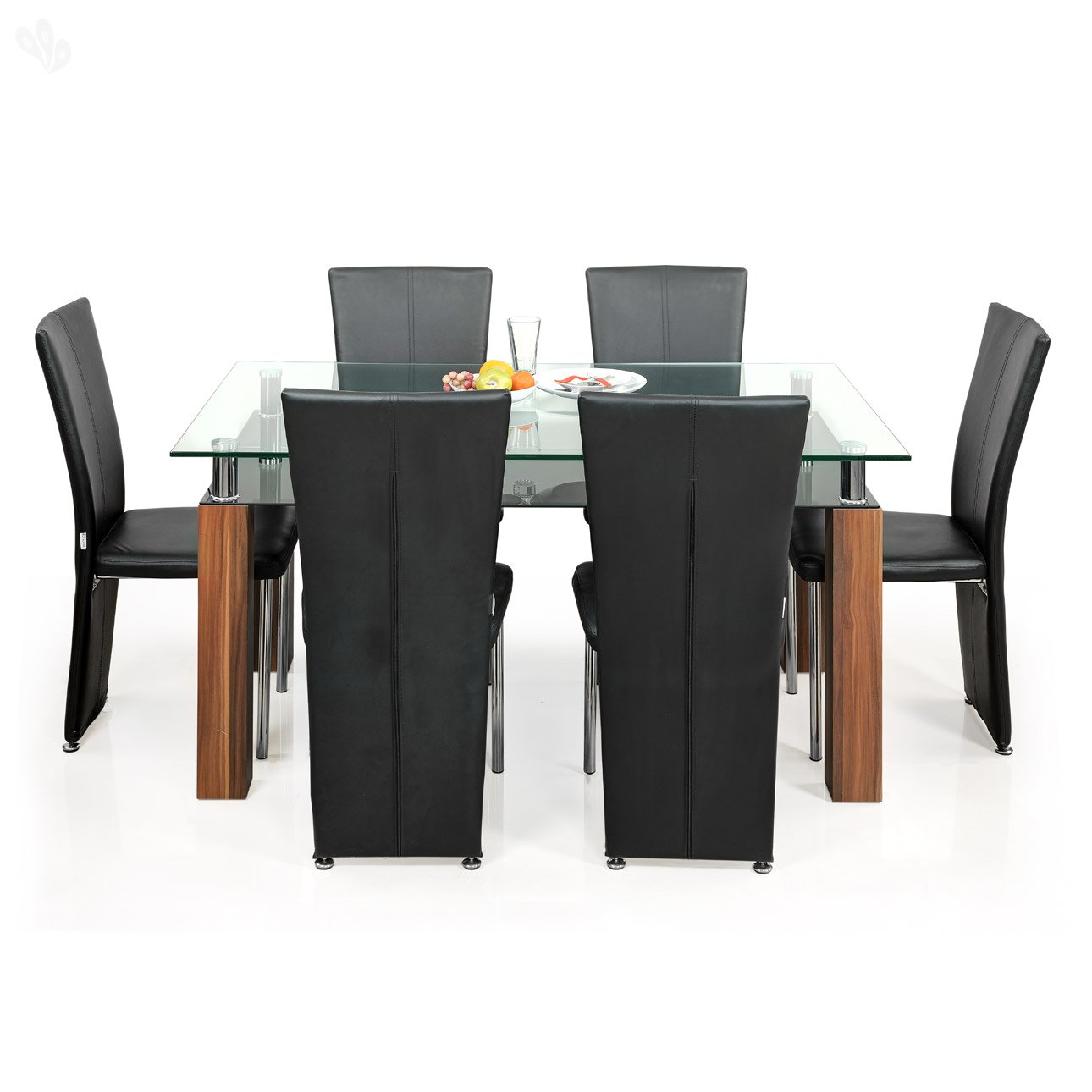 Royal Oak Barcelona Dining Table Set Black And Brown Amazonin Home Kitchen