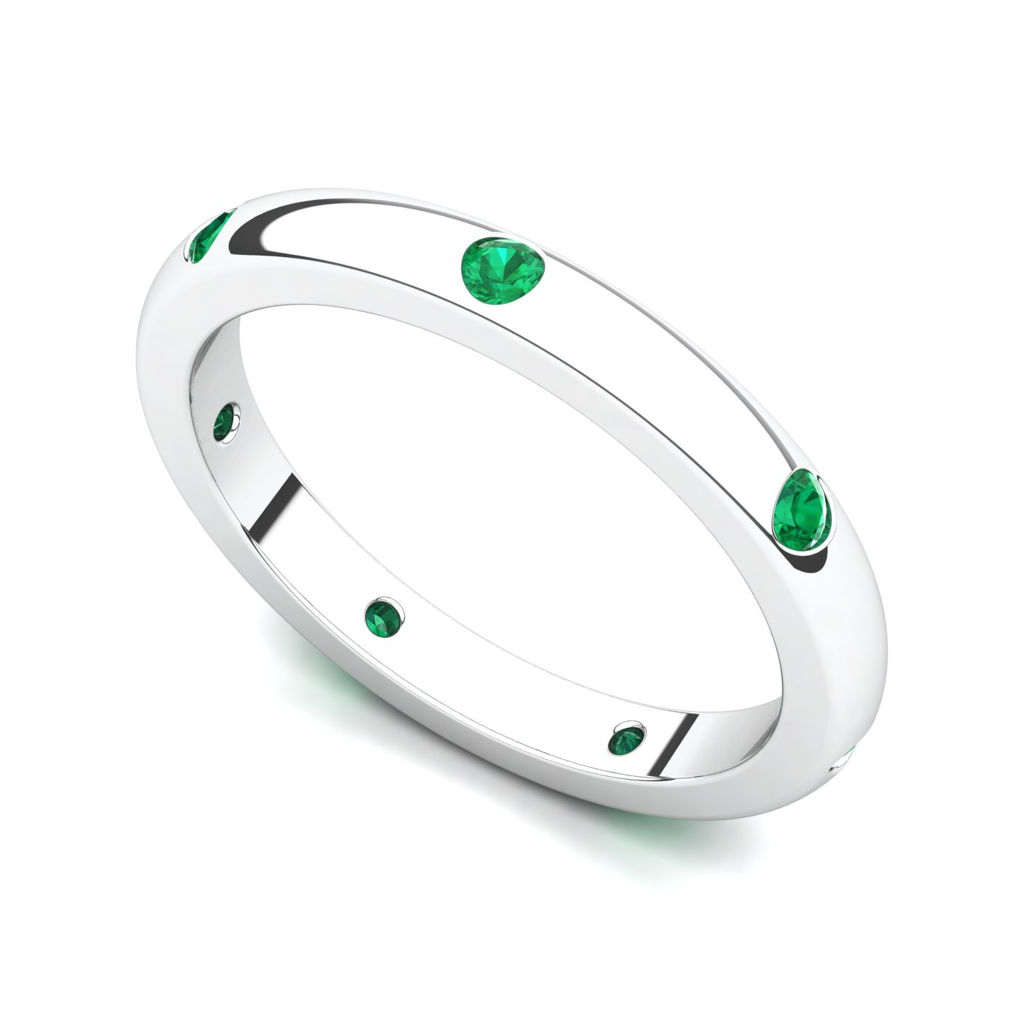 14k White Gold Bezel set Emerald Semi Eternity Band Ring, 6