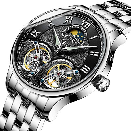 BINGER Men's Skeleton Automatic Mechanical Wrist Watch with Stainless Steel Band