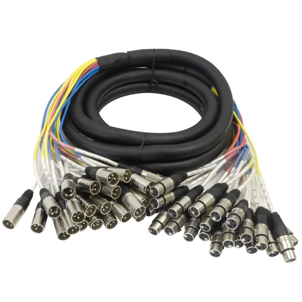 Seismic Audio - SARLX-24x15 - 24 Channel XLR Color Coded Mutil-Patch Snake Cable 15 Feet - Pro Audio by Seismic Audio