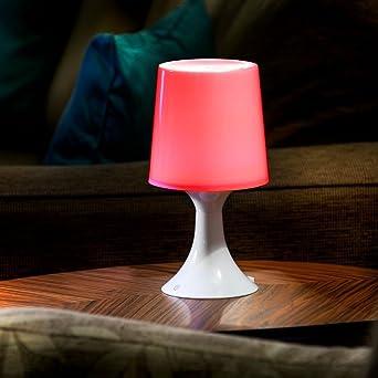 Auraglow - Lámpara LED de mesilla de noche, funciona con pilas, funciona con USB, cambiador de color: Amazon.es: Iluminación