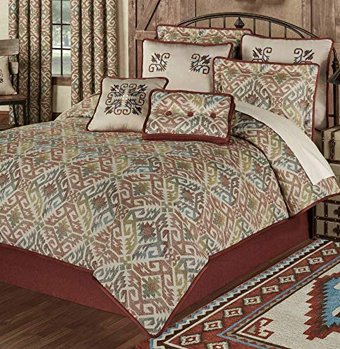 (Touch of Class Southwest Comforter Bedding 8 Piece Set Multi Warm Bandera Southwest Decor Medallions Cinnabar Queen)