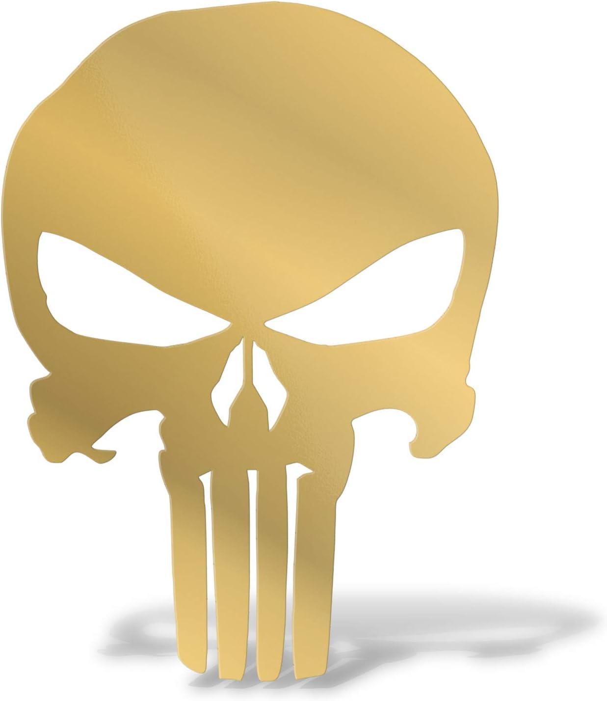 Erreinge Aufkleber Prespaced Gold 12cm Punisher Schädel Schädel Aufkleber Aufkleber Wandvinyl Aufkleber Laptop Auto Moto Helm Camper Baumarkt