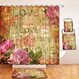 Nalahome Bath Suit: Showercurtain Bathrug Bathtowel Handtowel Roses Decorations Grunge Floral Dark Dated Damaged Alienated Background With Roses Antique Art Design Cream Pink