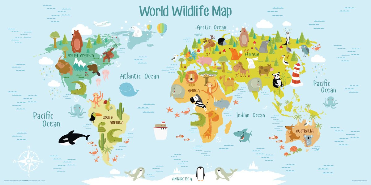 Amazoncom World Map Canvas Wall Art For Kids Room Typical Animals - Artsy world map poster