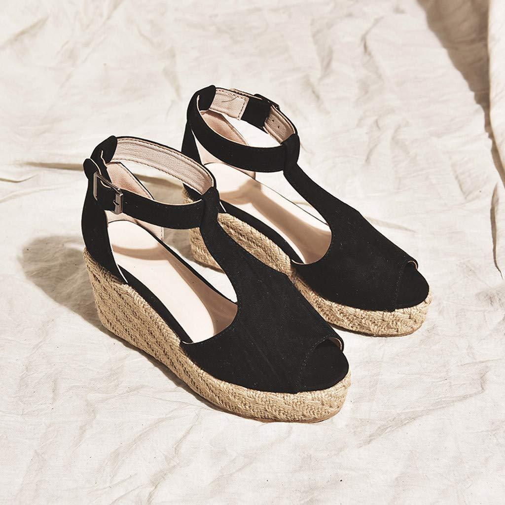 2e0b37cfe64d8 Amazon.com : Women Platform Sandals Peep Toe Wedge Espadrilles ...