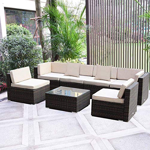 MAGIC UNION Outdoor Furniture Sectional Sofa Patio PE Rattan Wicker Cushion Cover 7 Pieces Sofa Set