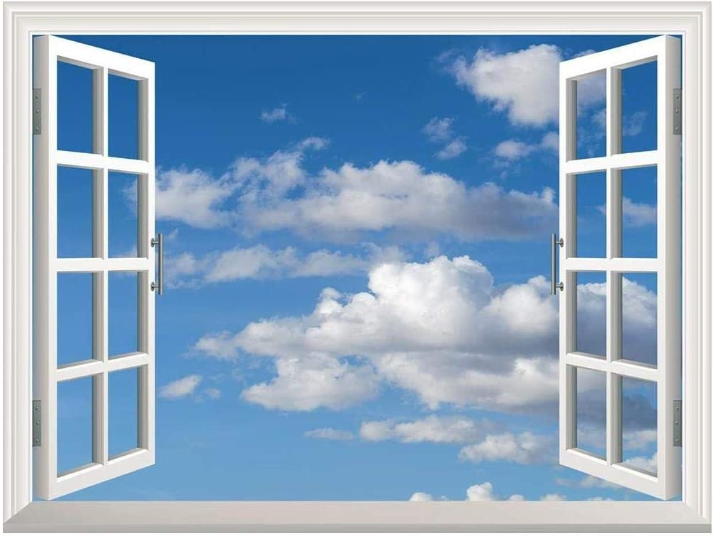 "wall26 Removable Wall Sticker/Wall Mural - Blue Sky with White Clouds | Creative Window View Home Decor/Wall Decor - 36""x48"""
