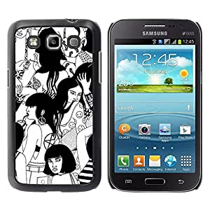 FECELL CITY // Duro Aluminio Pegatina PC Caso decorativo Funda Carcasa de Protección para Samsung Galaxy Win I8550 I8552 Grand Quattro // Witch Black White Deep Woodstock