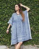 SIVALYA Keywest Organic Cotton Womens Kimono Dress | Great for Casual Wear and for Beach as a Swimsuit Cover up | Indigo