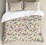 Mexican Duvet Cover Set Queen Size by Ambesonne, Colorful Nature Inspired Ethnic Pattern Birds Flowers Leaves and Dots Creativity, Decorative 3 Piece Bedding Set with 2 Pillow Shams, Multicolor