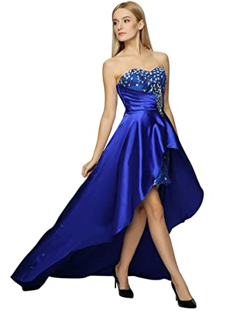 af898aed4511 Azbro Women's Strapless High Low Sequin Prom Evening Bridesmaid Long Maxi  Dress - -