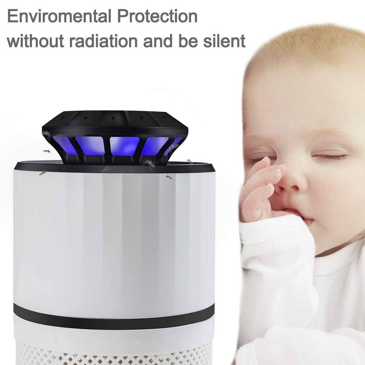 Mery Electric Insect Trap Indoor Bug Fly Mosquito Trap Killer – UV Light, Fan Suction Traps Even the Tiniest Flying Insects – No Zapper – Child-Safe, Non-Toxic Odor-Free (White) by Mery (Image #6)
