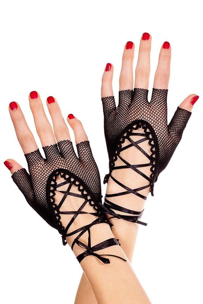 HO-Ersoka Damen Netz Handschuhe fingerlos mit Schn/ürung lang