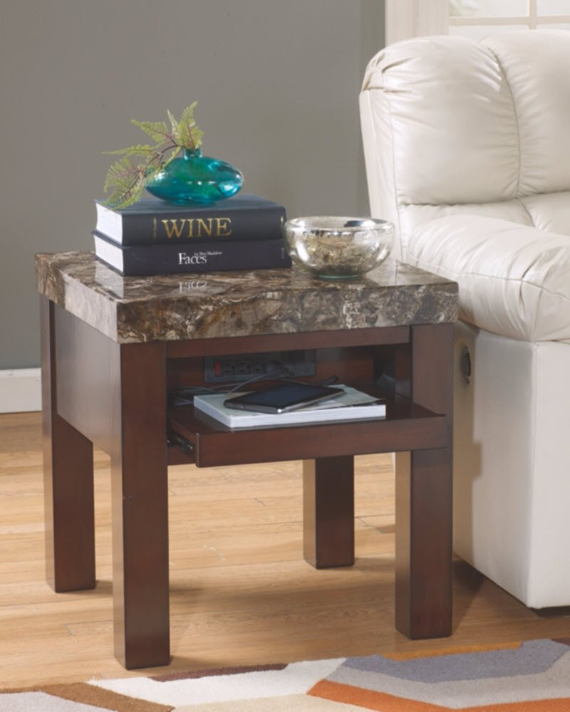 Ashley Furniture Signature Design - Kraleene End Table - Pull Out Tray with USB Ports - Contemporary - Dark Brown by Signature Design by Ashley (Image #2)