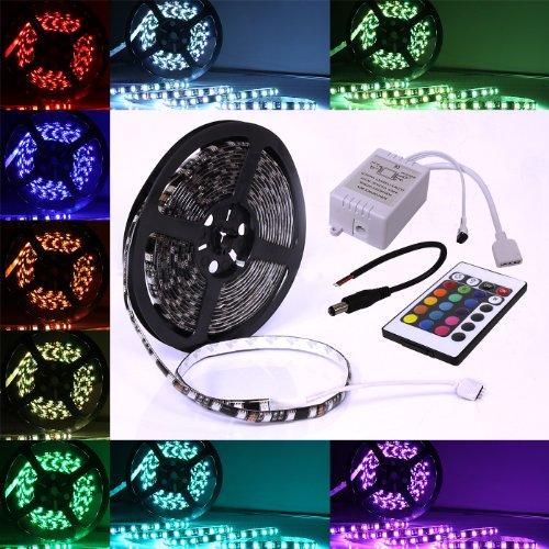 5m Meter 16 ft Feet RGB 5050 SMD LED 300 LEDs Waterproof Flexible Light Strip w/ IR Remote 24 - Light Optix Three
