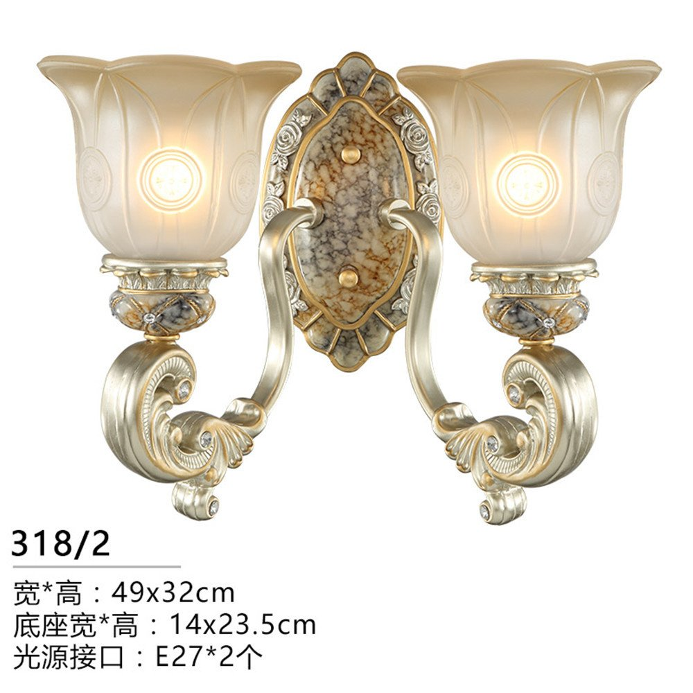 MMYNL Moderne E27 Antik Wandlampe Vintage Wandlampen Wandleuchten für Schlafzimmer Wohnzimmer Bar Flur Bad Küche Balkon Nachttischlampe, Doppelkopf Wandleuchte