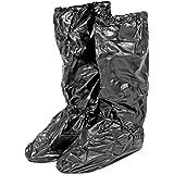 PERLETTI Copriscarpe Impermeabili in PVC - Resistenti e riutilizzabili - Copriscarpa con Suola Antiscivolo Rinforzata - Galosce Pioggia Neve e Fango - Modello Alto - Nero/Blu