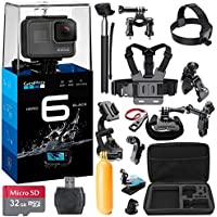 GoPro HERO6 Black Bundle w/ 32GB micro SD Memory Card + 38 Piece Accessory Kit