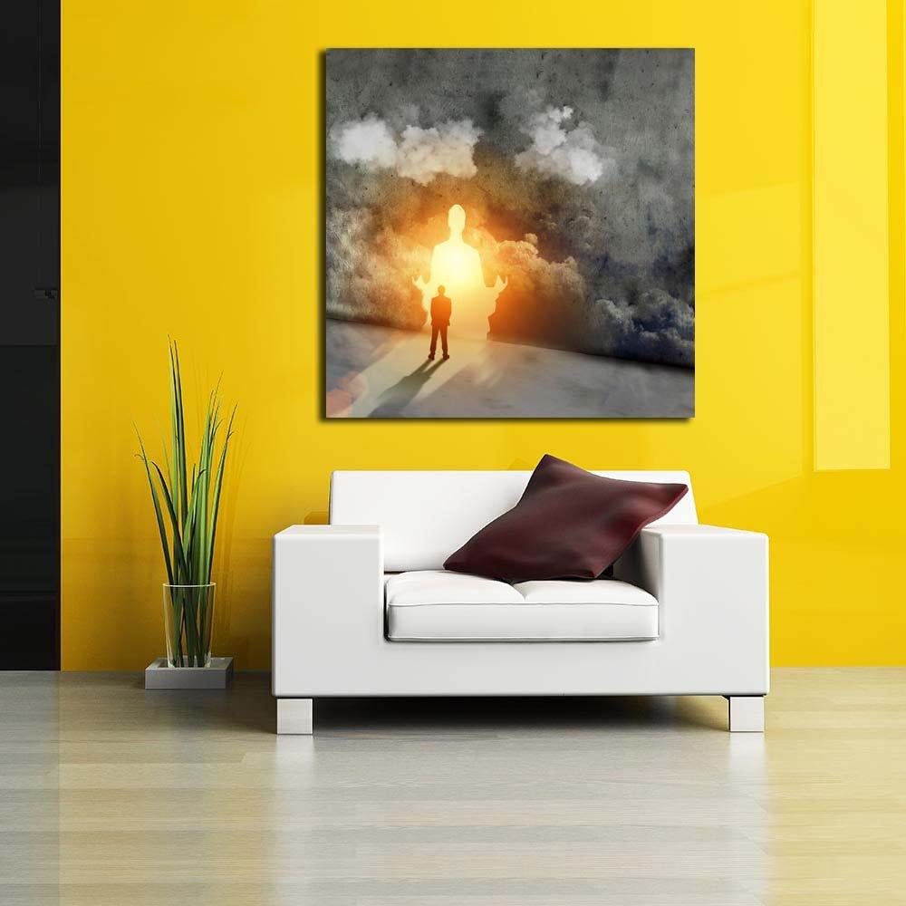 Pitaara Box Man Sitting In Meditation Pose Unframed Canvas Canvas Unframed Painting 38 x 38inch cfe17f