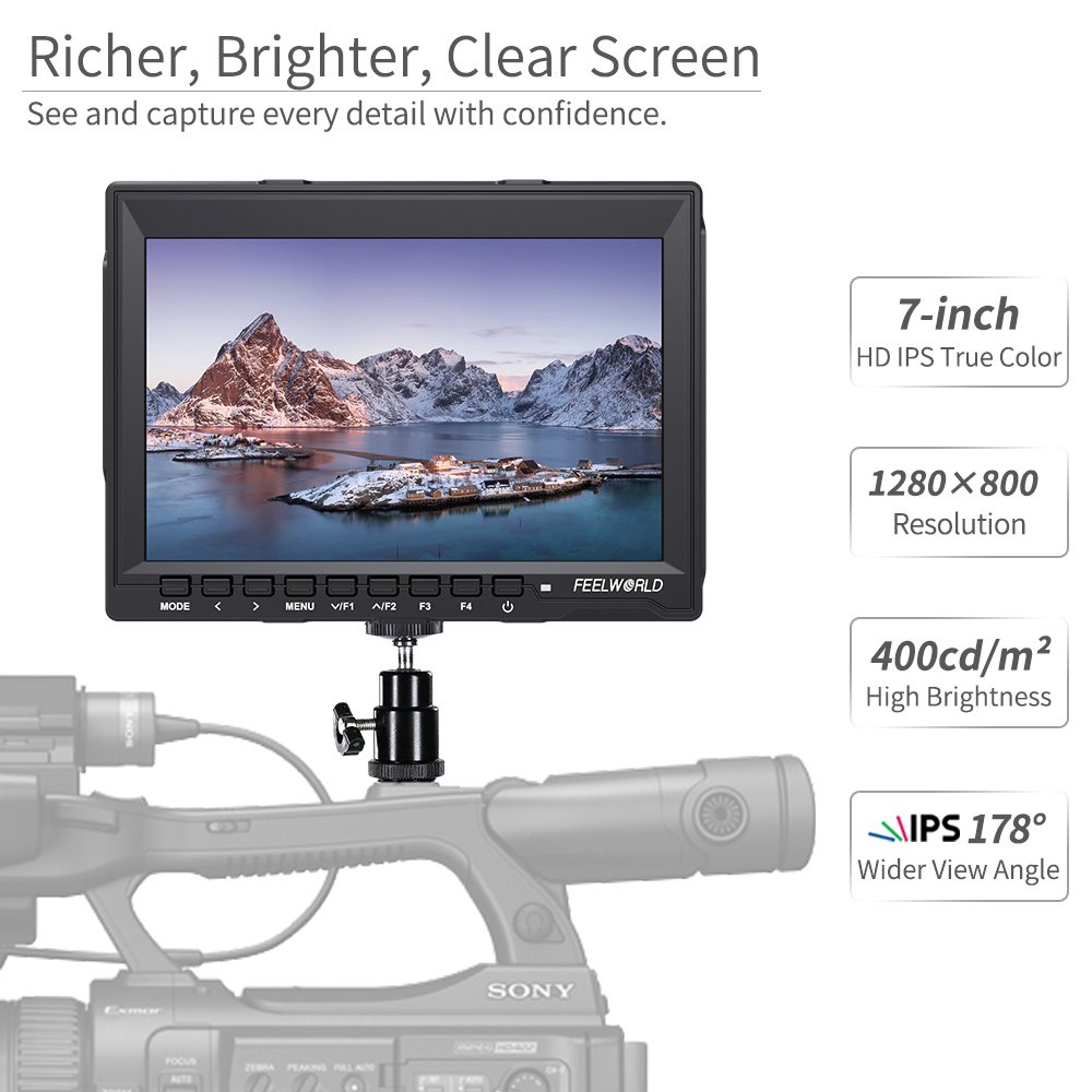 Feelworld FW759 7 Pollici On Camera DSLR Monitor Field Full HD Focus Video Assist 1280x800 IPS con 4K HDMI Input Output