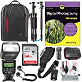 Digital Photography for Dummies Premium Bundle w/i-TTL AF Power Zoom Flash, Professional Sturdy Tripod, 64GB, Much More for Nikon DSLRs D810 D750 D500 D7200 D5600 D3400 D3300