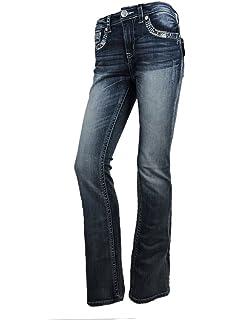 b95f6aa97f8 Grace L.A. Idol Women Bootcut Jeans Cross Faux Flap Pocket Stretch in Med  Blue