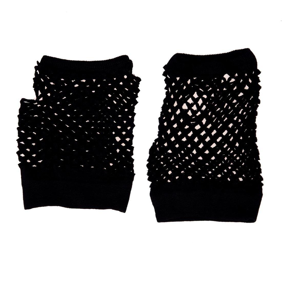 TOOGOO(R) 2 pezzi elastico brevi Fish Net guanti senza dita Guanti nero per le signore