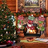 """Christmas Stocking, 18"""" Personalized Xmas Stockings Set of 3 with 3D Snowflake Santa, Snowman, Reindeer, Classic Stocking Decorations for Xmas Tree Holiday Family Party"""