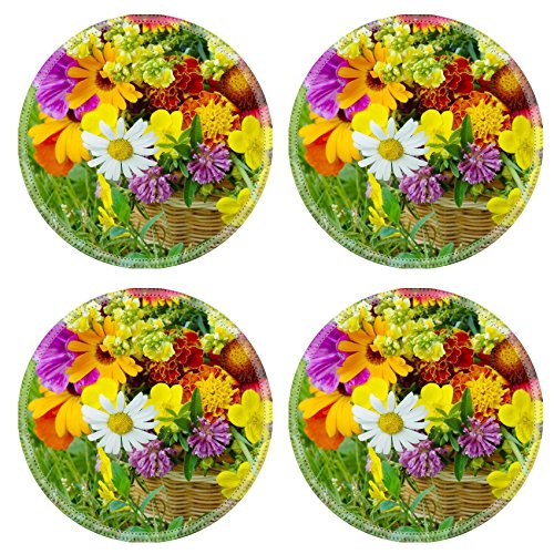 MSD Natural Rubber Round Coasters IMAGE ID: 7884591 Beautiful flowers in a basket